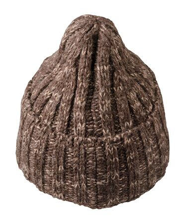 knitted brown hat isolated on a white background.fashion hat accessory for casual style