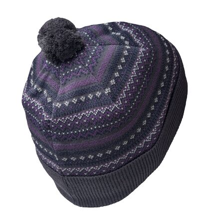 knitted grey purple and white hat isolated on white background.hat with grey pompon .