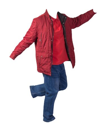 red jacket,orange shirt and blue jeans isolated on white background. casual fashion clothes