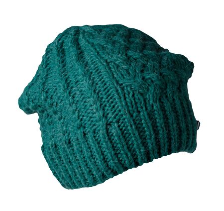 Women's green hat . knitted hat isolated on white background.