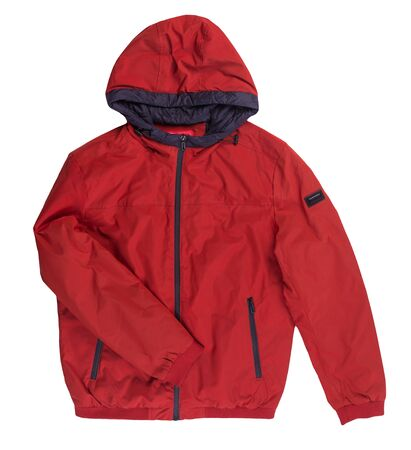 Male red jacket with a zipper with a hood isolated on a white background. Windbreaker jacket top view. Casual style Imagens