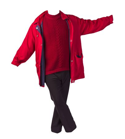 women's black pants, autumn red coat and knitted red sweater isolated on a white background. fashionable casual wear Imagens