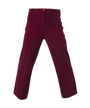 women dark red pants isolated on white background.women's casual wear