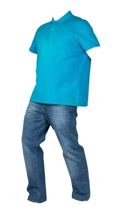 men's blue t-shirt with button-down collars and blue jeans isolated on white background.casual clothing