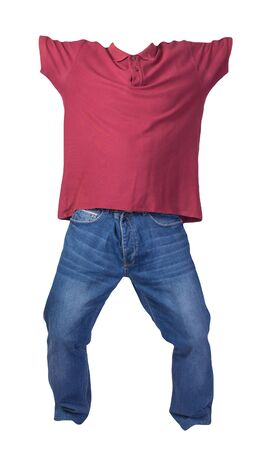 men's dark red t-shirt with button-down collars and blue jeans isolated on white background.casual clothing
