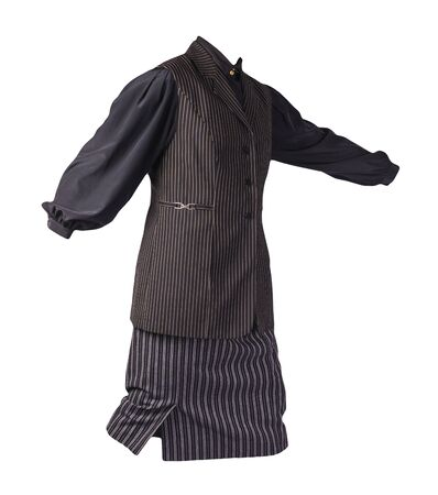 women's long black white striped skirt,black white striped vest and black blouse isolated on white background.comfortable clothes for every day