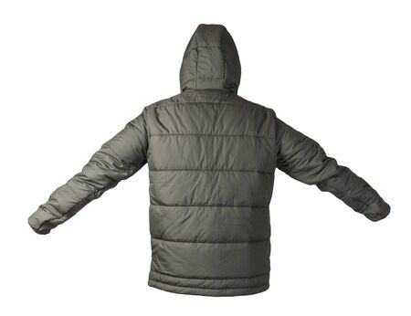Men's dark green jacket in a hood isolated on a white background. Windbreaker jacket . Casual style