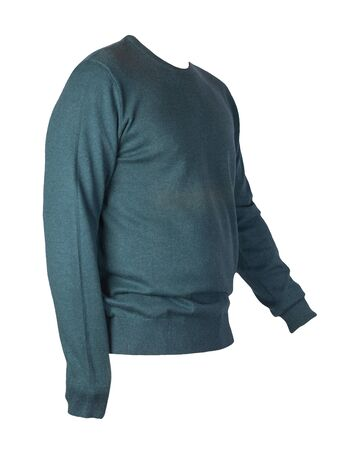 knitted dark green sweater isolated on a white background. men's sweater under the neck . Casual style