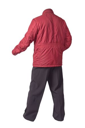 men's red jacket and black pants isolated on white background. men's autumn clothes
