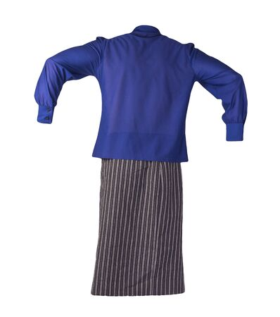 women's long black white striped skirt and dark blue blouse isolated on white background.comfortable clothes for every day
