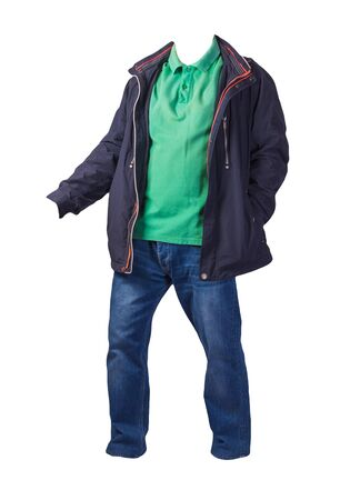 dark blue jacket with zipper,green shirt and blue jeans isolated on white background. casual fashion clothes
