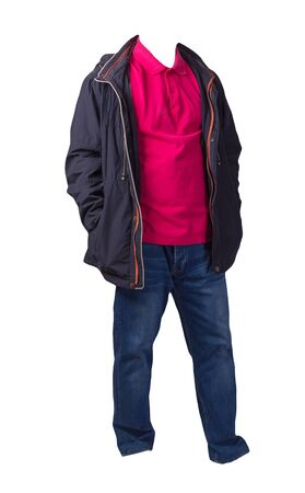 dark blue jacket with zipper,red shirt and blue jeans isolated on white background. casual fashion clothes