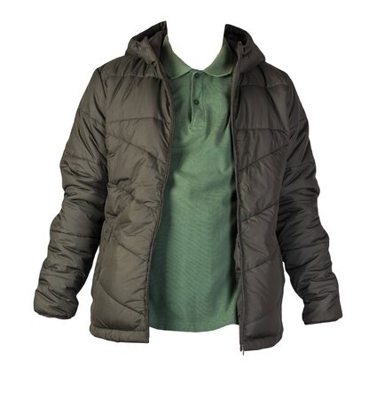 men's green t-shirt and hakki jacket isolated on white background.casual clothing