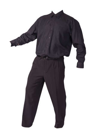 men's black shirt and black pants isolated on white background. fashion clothes