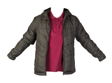 men's dark red t-shirt and hakki jacket zipper isolated on white background.casual clothing