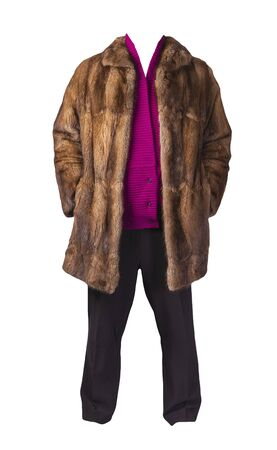 women's black pants, autumn brown fur coat and knitted crimson sweater isolated on a white background. fashionable casual wear 版權商用圖片