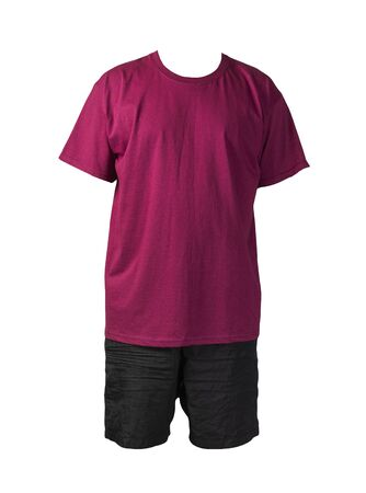 men's black sports shorts and burgundy t-shirt isolated on white background.comfortable clothing for sports