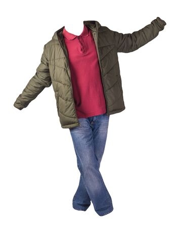 hakki jacket with zipper,dark red shirt and blue jeans isolated on white background. casual fashion clothes
