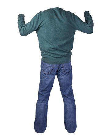 men's dark green sweater and blue jeans isolated on white background.casual clothing