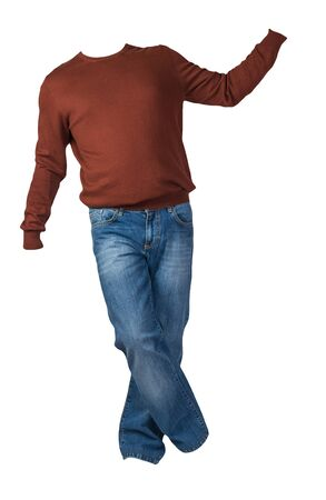 men's dark red sweater and blue jeans isolated on white background.casual clothing 版權商用圖片