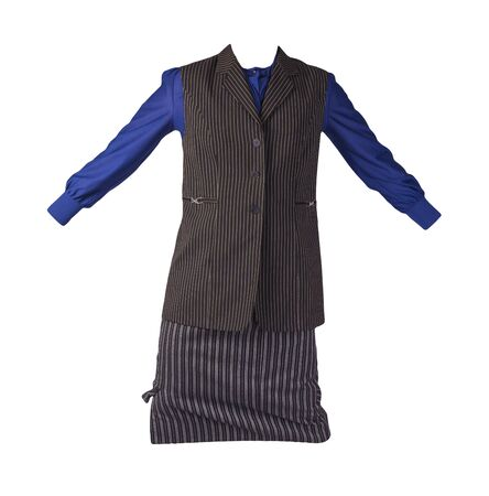 women's long black white striped skirt,black white striped vest and dark blue blouse isolated on white background.comfortable clothes for every day