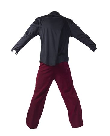 women`s dark red trousers with black blouse isolated on white background .fashion clothes 版權商用圖片