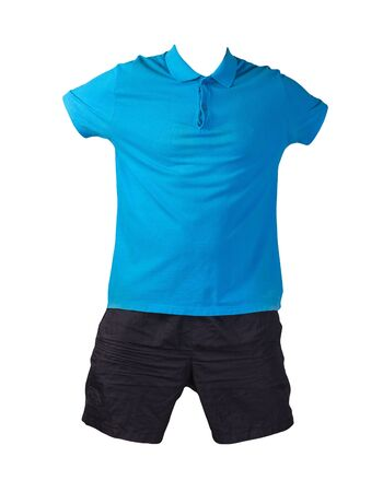 men's sports black shorts and a blue t-shirt with a button-down collar isolated on a white background.comfortable clothing for sports