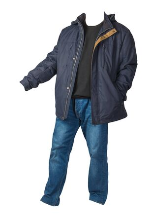 dark blue jacket with zipper,brown sweater and blue jeans isolated on white background. casual fashion clothes