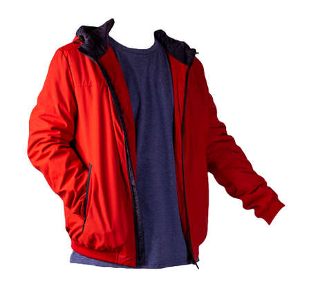 red zipped jacket and dark blue t-shirt isolated on a white background. Casual style