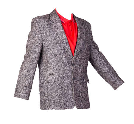 gray jacket with buttons and red polo shirt with a collar and buttons isolated on a white background. Casual style 免版税图像