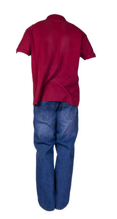 men's dark red polo shirt with button-down collars and blue jeans isolated on white background.casual clothing 免版税图像