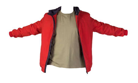 red zipped jacket and olive t-shirt isolated on a white background. Casual style 免版税图像
