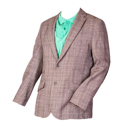 Brown men's blazer in a cage with buttons and green t-shirt with a collar and buttons isolated on a white background. Casual style