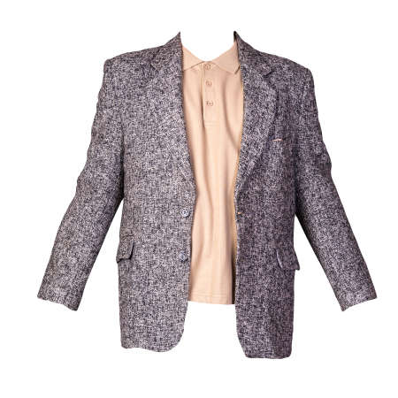 gray jacket with buttons and beige t-shirt with a collar and buttons isolated on a white background. Casual style 免版税图像
