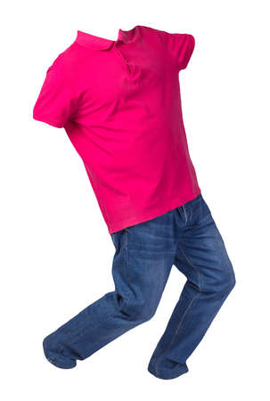 men's red polo shirt and blue jeans isolated on white background.casual clothing