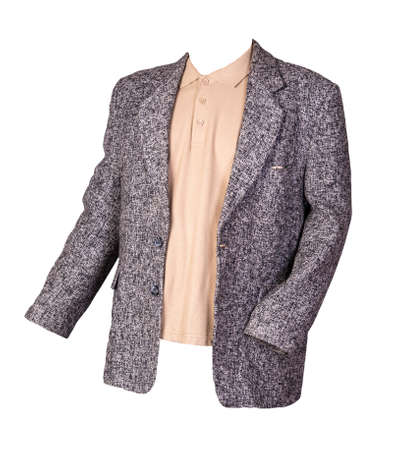 gray jacket with buttons and beige t-shirt with a collar and buttons isolated on a white background. Casual style Standard-Bild