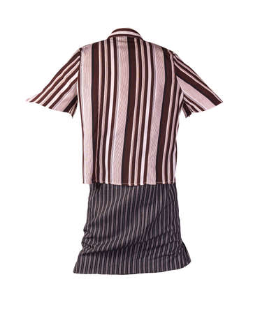 women's long black white striped skirt and brown beige striped blouse isolated on white background.comfortable clothes for every day
