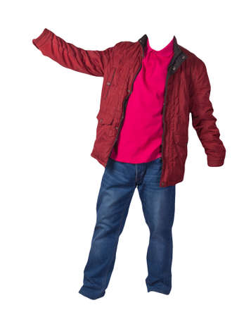 red jacket, crimson shirt and blue jeans isolated on white background. casual fashion clothes