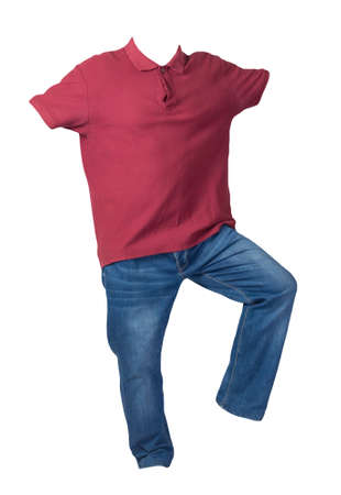 men's dark red polo shirt with button-down collars and blue jeans isolated on white background.casual clothing Standard-Bild