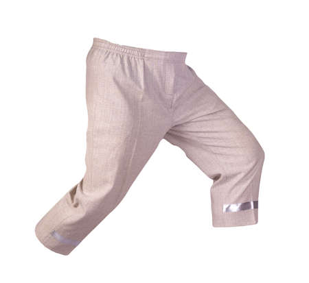 women's light brown pants breeches isolated on white background.women's casual wear 免版税图像
