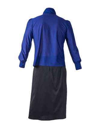 women's long black skirt and dark blue blouse isolated on white background.comfortable clothes for every day