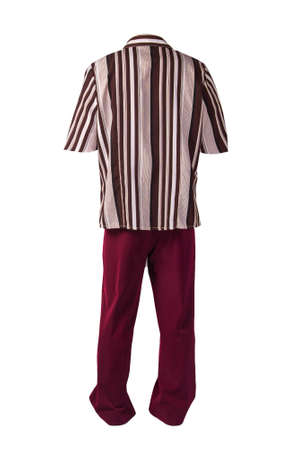 women`s dark red trousers with brown beige striped blouse isolated on white background .fashion clothes