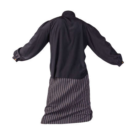 women's long black white striped skirt and black blouse isolated on white background.comfortable clothes for every day