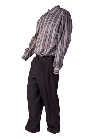 men's gray striped shirt and black pants isolated on white background. fashion clothes