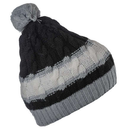 knitted black gray white hat isolated on white background.hat with pompon. Stock Photo