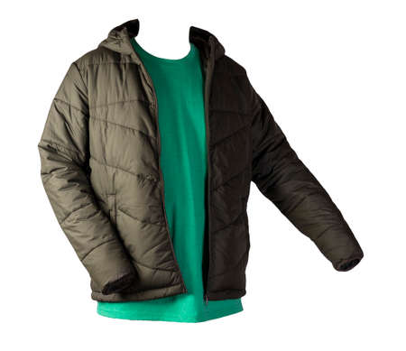 dark green zipped jacket and retro heather green t-shirt isolated on a white background. Casual style