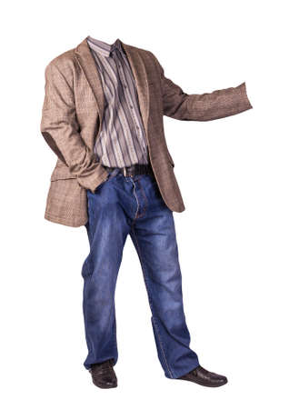 men's button light brown jacket, men's blue jeans, leather black shoes and gray striped shirt isolated on white background