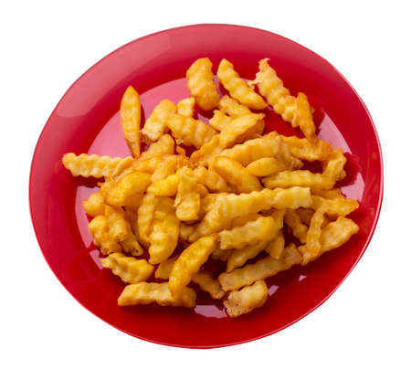french fries on red plate isolated on white background.french fries on a plate top side view .junk food. fast food