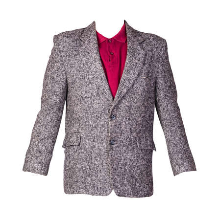 gray jacket with buttons and red t-shirt with a collar and buttons isolated on a white background. Casual style