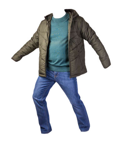 green jacket, turquoise sweater and blue jeans isolated on white background. casual fashion clothes